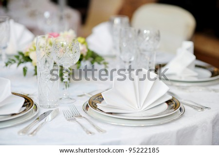 Table set for an event party or wedding reception - stock photo