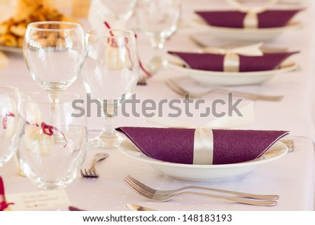 table set for event