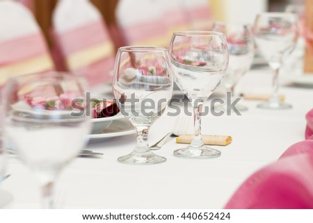 table set for event or wedding