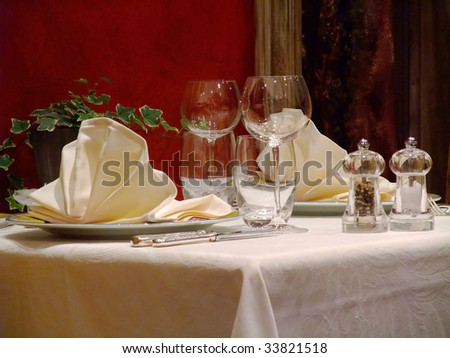 Table set in a french restaurant - France - stock photo
