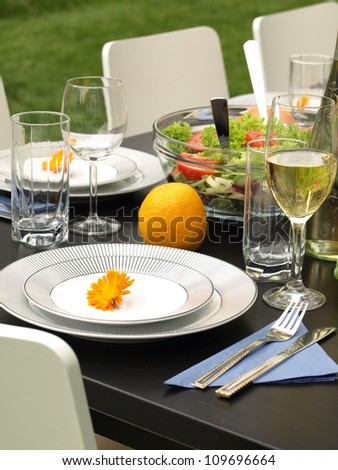 Table set in garden for a party - stock photo
