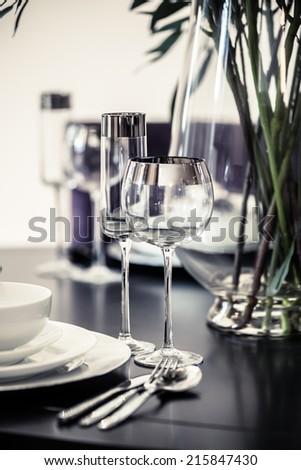 table set restaurant - stock photo