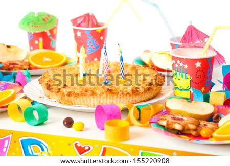 Table set up for a child's party