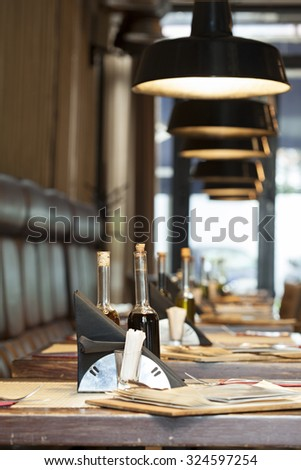 table set up shallow depth of field - stock photo