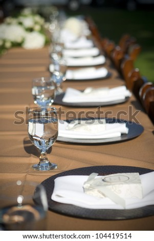 Table setting at a wedding or event - stock photo