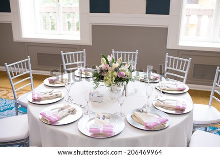 Table Setting at a Wedding Reception - stock photo