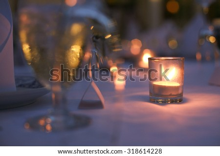 Table Setting at a Wedding Reception on beach