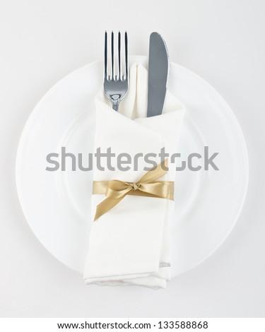 Table Setting,Folded Napkin - stock photo
