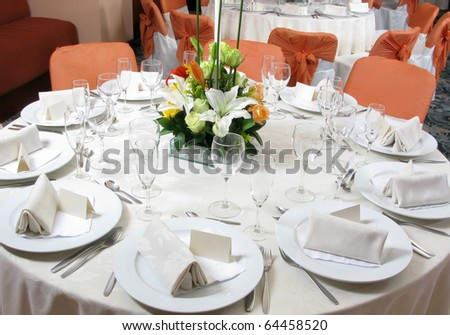 Table setting for a wedding or dinner event - stock photo