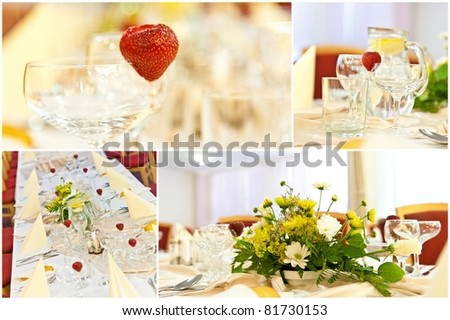 Table setting for a wedding or dinner event with flowers - collage of wedding table - stock photo