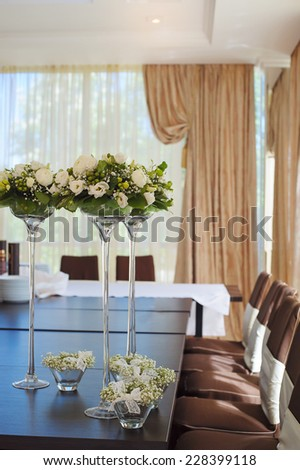 Table setting for an wedding reception. - stock photo