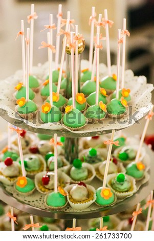 Table setting for an wedding reception in green color  - stock photo