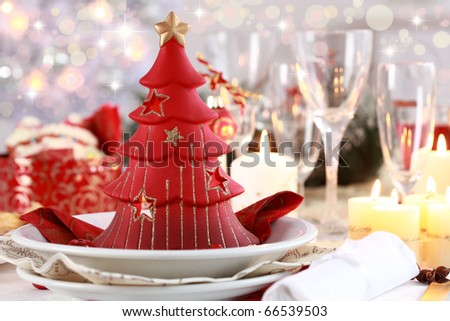 Table setting for Christmas with fresh fruits - stock photo