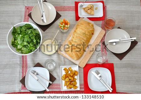 Table Setting for family dinner - stock photo