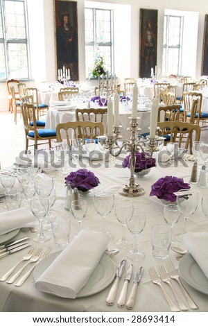 table setting for fine dining or party. cutlery and plate in restaurant set up for wedding celebration