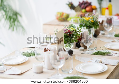 Table setting for party or wedding reception