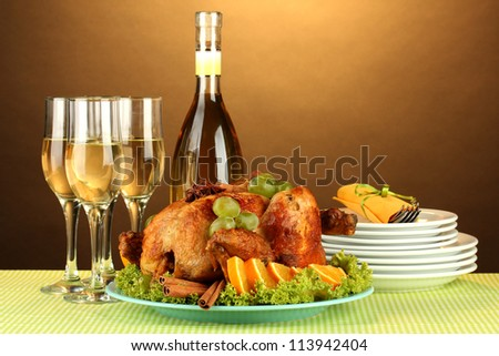 table setting for Thanksgiving day on brown background close-up