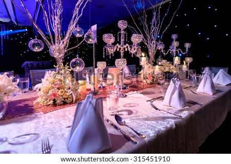 Table setting for wedding or event - stock photo