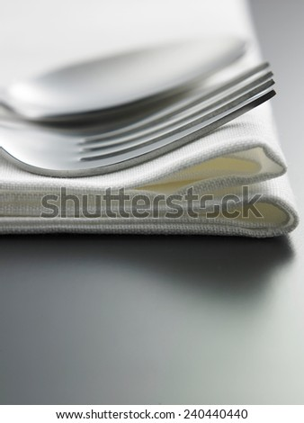 table setting fork and spoon on the napkin