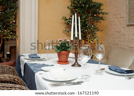 Table setting in an expensive restaurant - stock photo