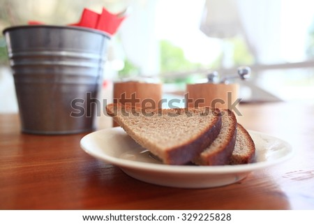 table setting in cafe - stock photo