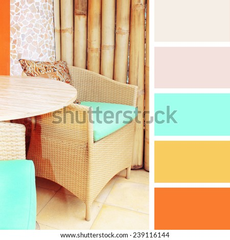 table setting in cafe.  color palette swatches. pastel hues - stock photo