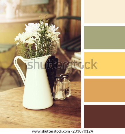 table setting in cafe.  colour palette swatches. pastel hues