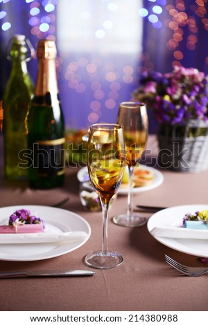 Table setting in restaurant - stock photo