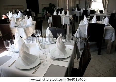 table setting in restaurant Cutlery - stock photo