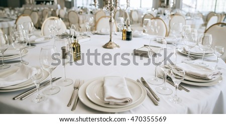 Table setting in restaurant. Wedding reception white table arrangement candlestick forks  glasses & Table Setting Restaurant Wedding Reception White Stock Photo (100 ...