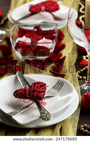 Table setting of Valentines Day - stock photo