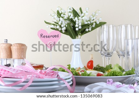 Table setting on beige background