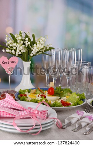 Table setting on room background