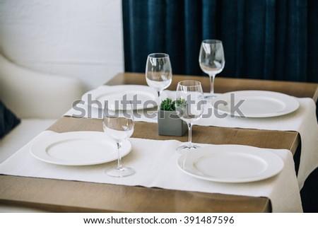 table setting restaurant interior & Table Setting Restaurant Interior Stock Photo (Download Now ...