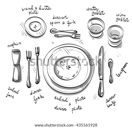 Table setting sketch.  - stock photo