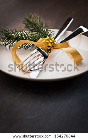 table setting  with fir and copy space  - stock photo