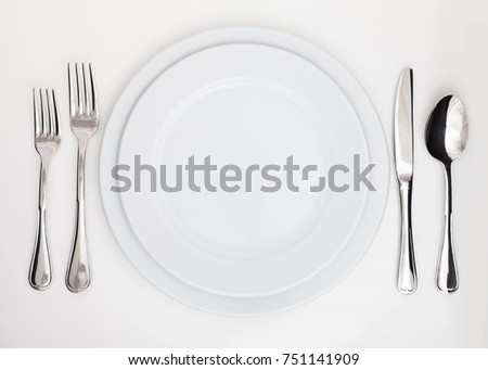 Table Setting with Plate Forks Knife and Spoon & Table Setting Plate Forks Knife Spoon Stock Photo (Royalty Free ...