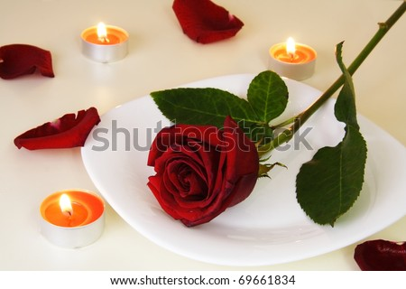 Table Setting with Rose for Romantic Candlelight Dinner Valentine - stock photo