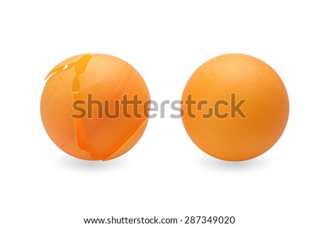 table tennis ball and crushed ping pong ball on white isolated background with clipping path. - stock photo