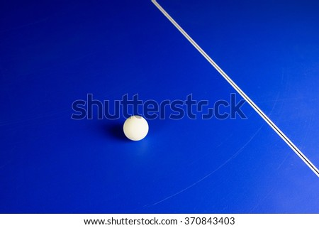Table Tennis Ball on a Blue Table with White Center Line