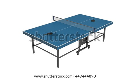 Table tennis, ping pong with rackets, sports equipment isolated on white background, 3D illustration