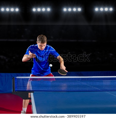 Table tennis player at sports hall