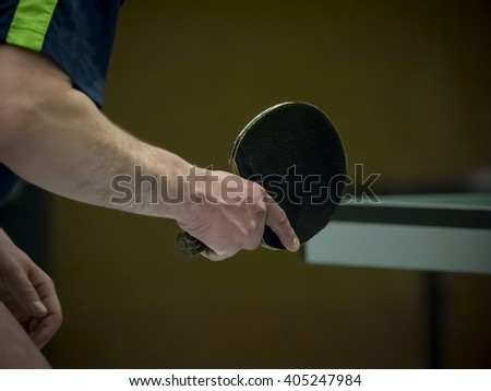 table tennis player waiting for the ball, closeup - stock photo