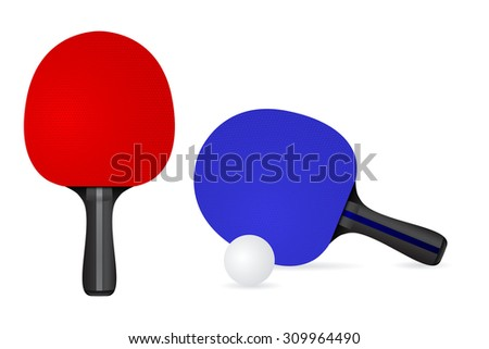 Table Tennis Racket with ball. Raster version.