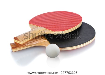 table tennis rackets and ball, isolated on a white background. - stock photo