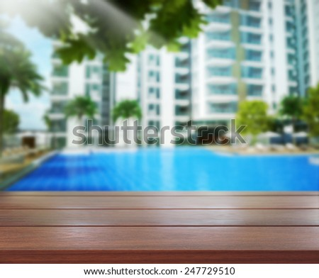 Table Top And Blur Building Of Background - stock photo