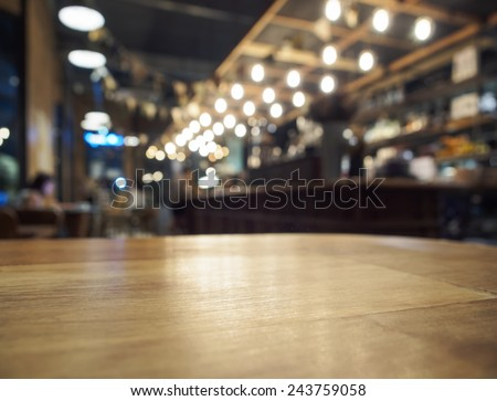 Table top counter Bar restaurant background - stock photo