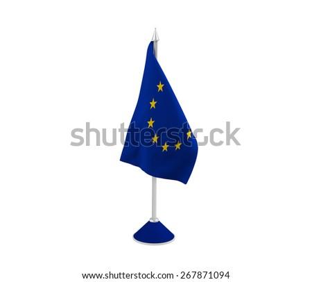 Table-top flag of European Union isolated on white - stock photo