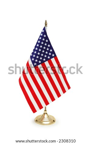 Table-top flag of USA isolated on white - stock photo