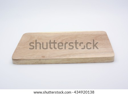 table top or cutting board with butcher block motif, Chopping block and cleaver - stock photo